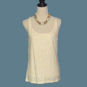 💥5/25💥 NWT Talbots Sequined Covered Ivory Tank